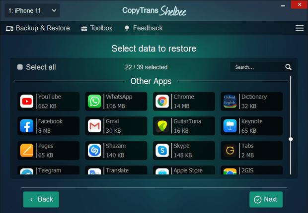 CopyTrans Shelbee interface