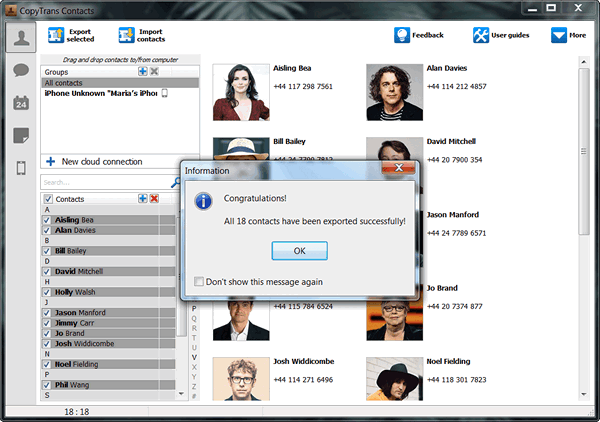 Save iPhone contacts using CopyTrans Contacts