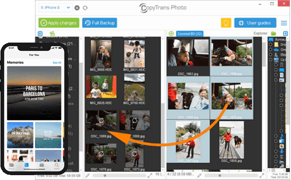 Transfer PC photos to iPhone with CopyTrans Photo
