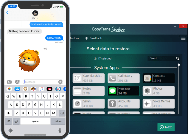 selective restore of contacts and messages with CopyTrans Shelbee