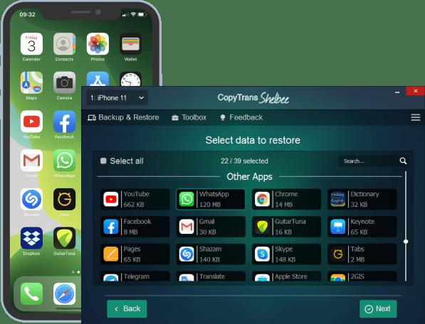 Restore WhatsApp with CopyTrans Shelbee