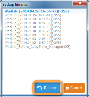 list of backed-up ipod libraries in copytrans manager