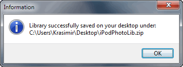 library successfully saved on your desktop