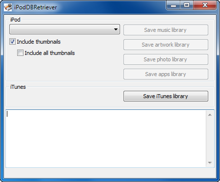 iPodDBRetriever screenshot