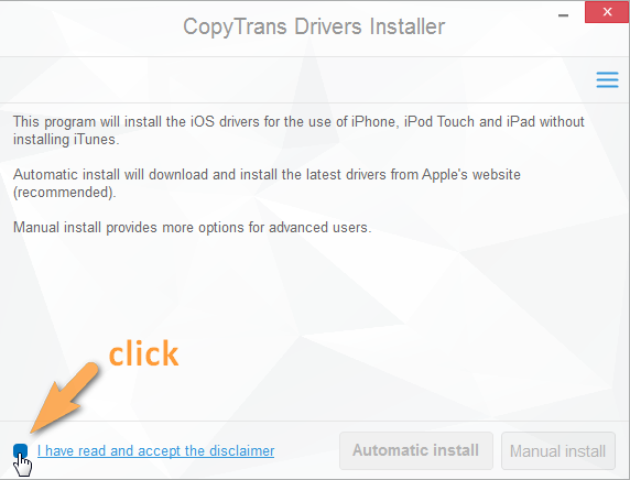 copytrans drivers installer disclaimer