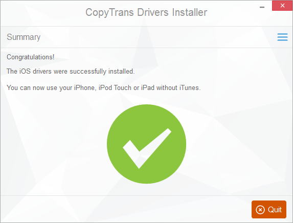 successful drivers installation