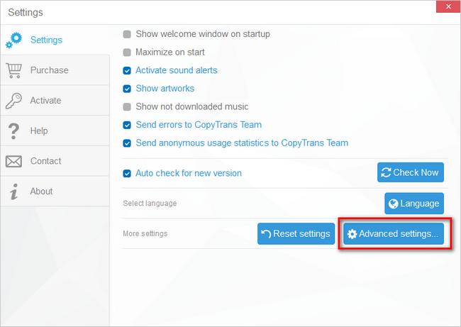 open advanced settings in CopyTrans