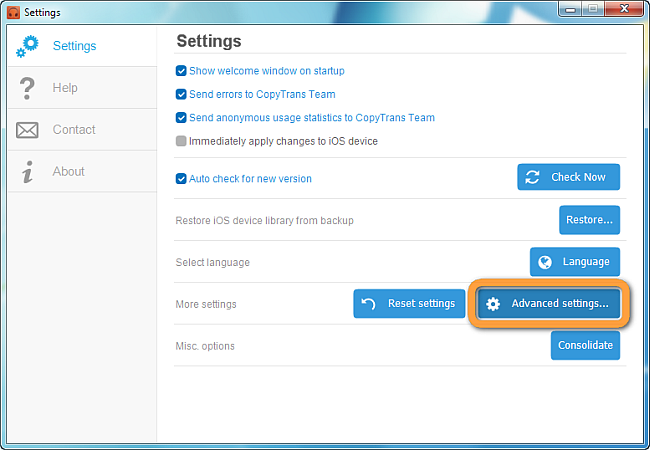 advanced settings button in copytrans manager
