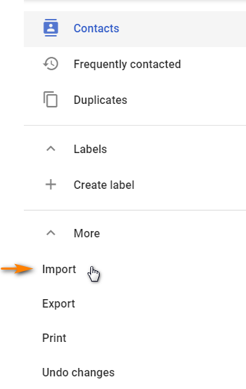 Select Import to Import your contacts to Gmail