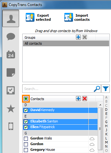 select multiple contacts to delete