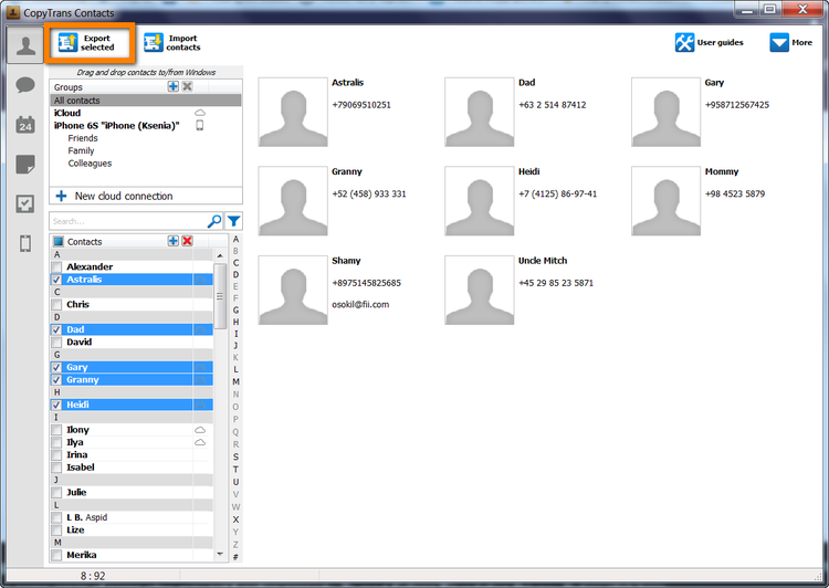 Select the contacts you wish to export from the contacts list