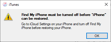 disable find my iPhone if if necessary