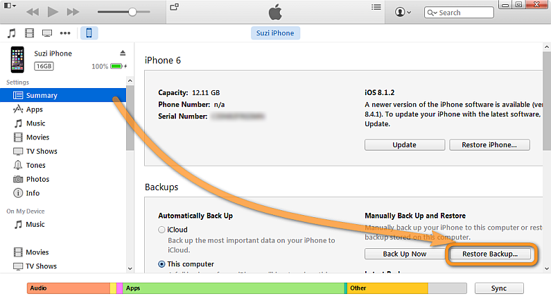 restore backup button in itunes
