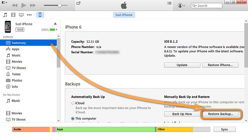 Restaurando backup - iOS
