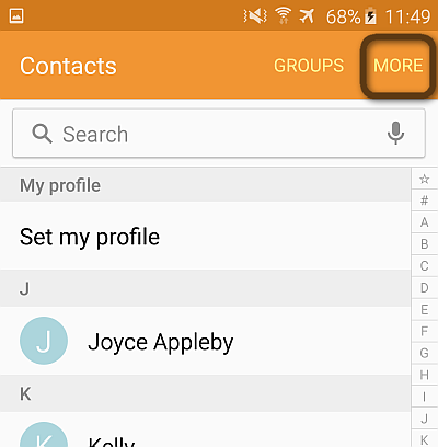 galaxy contacts more button