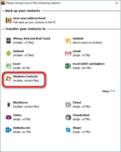 Windows contacts windows 10 import