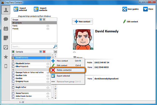 manage icloud contacts in copytrans contacts