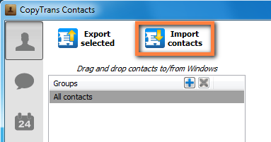 import button to copy hotmail contacts to iphone