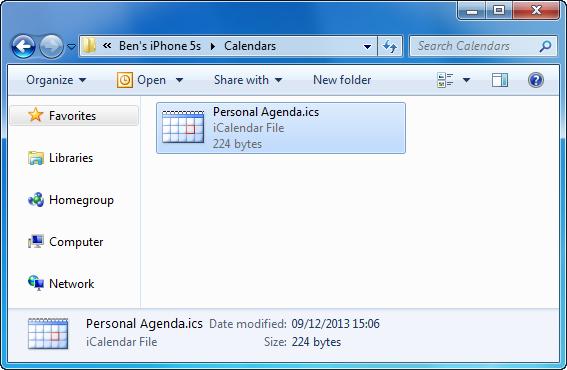 back up iphone calendar events