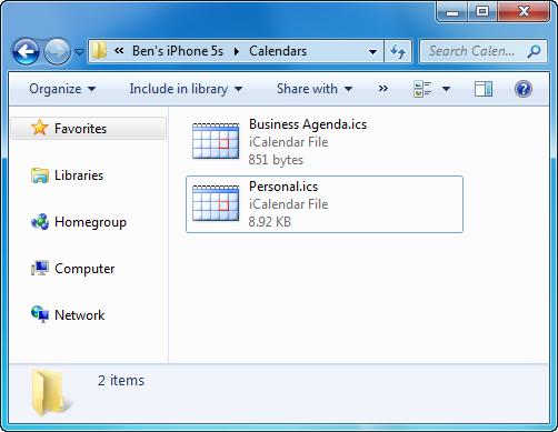 icloud calendar saved to PC