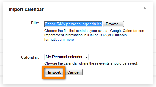 import iphone calendar to google
