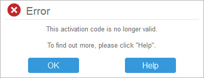 activation code not valid