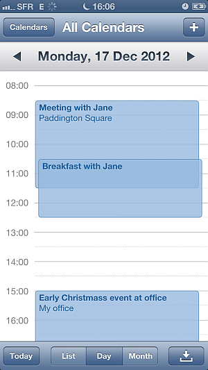 iphone calendar to iphone 5