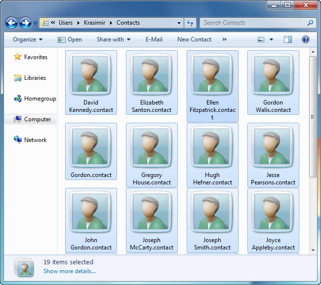 BlackBerry contacts saved as Windows Contacts on PC