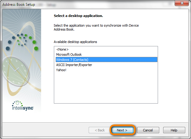 select a desktop application in blackberry address book setup window
