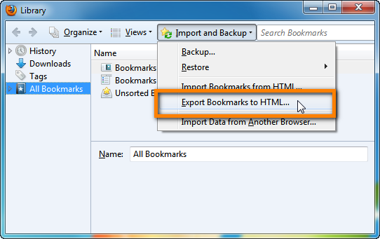 bookmarks from firefox to iphone