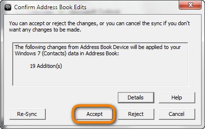 prompt to accept the address book changes made