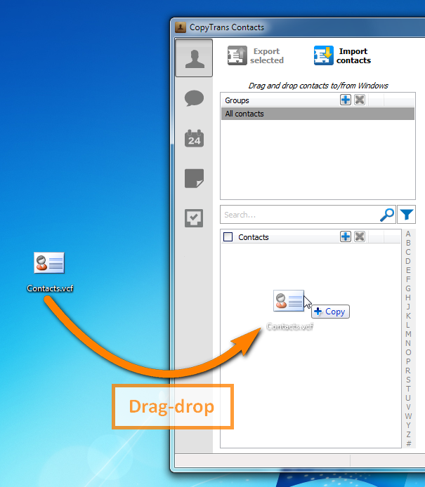 Drag and drop your contacts vcf file