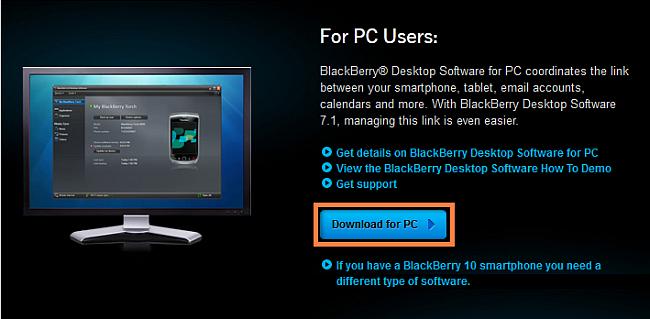 download BlackBerry Desktop Manager