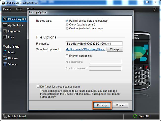 BlackBerry backup settings
