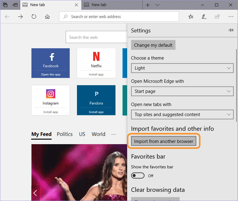 Click Import bookmarks from another browser