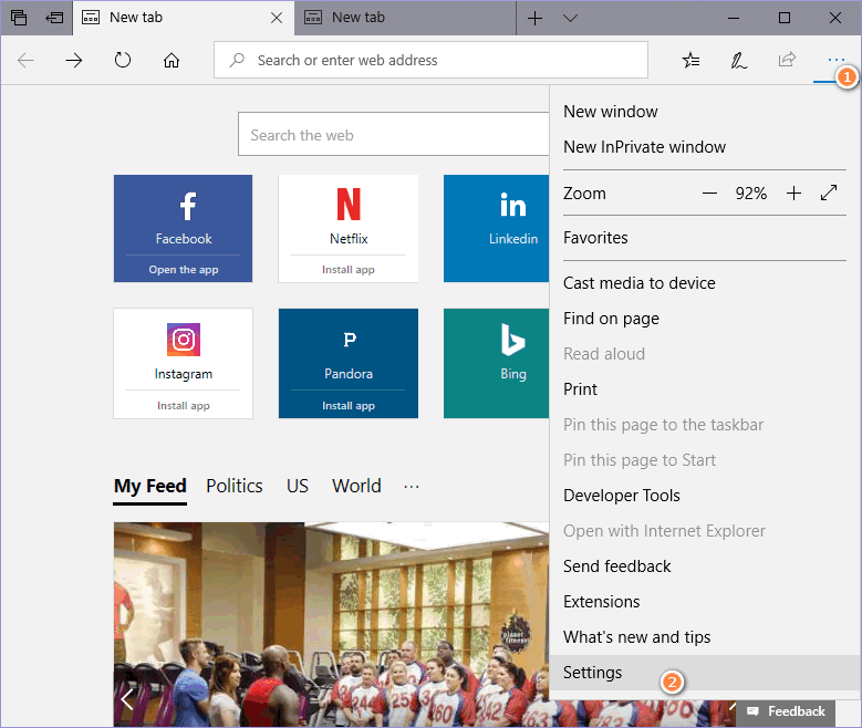 Open Settings in Microsoft Edge