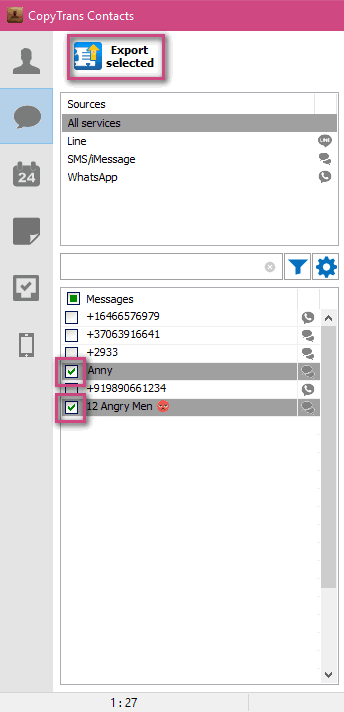Export specific conversations in PDF