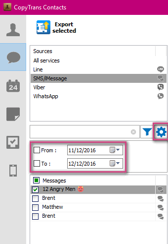 Export messages in PDF for a certain period
