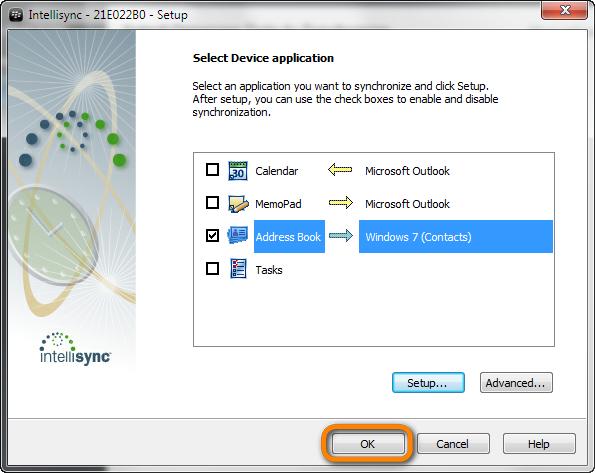 ok button in blackberry desktop intellisync window