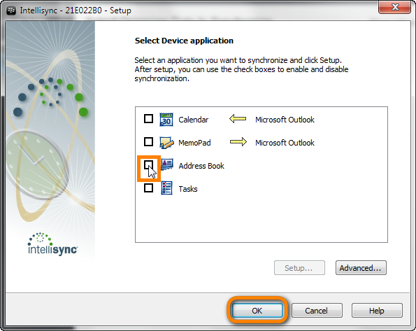 select blackberry application to sync from intellisync window