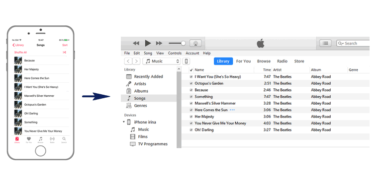 transfer songs back in itunes from your iPhone