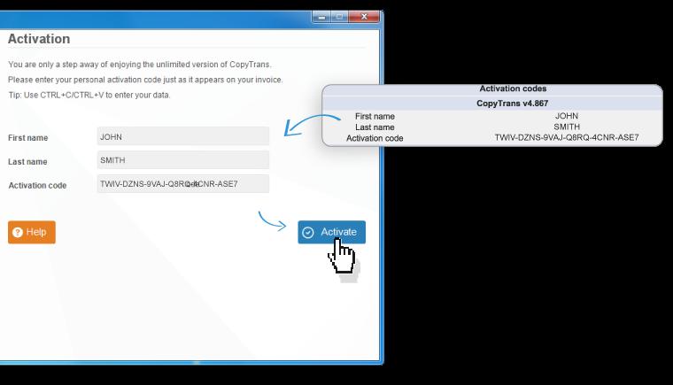 copy paste activation details for copytrans
