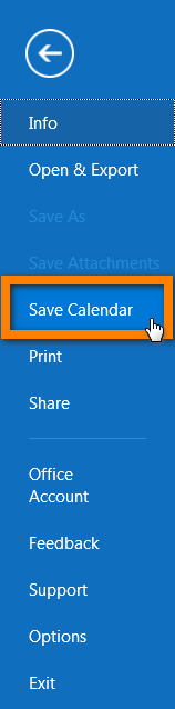 Click on Save Calendar