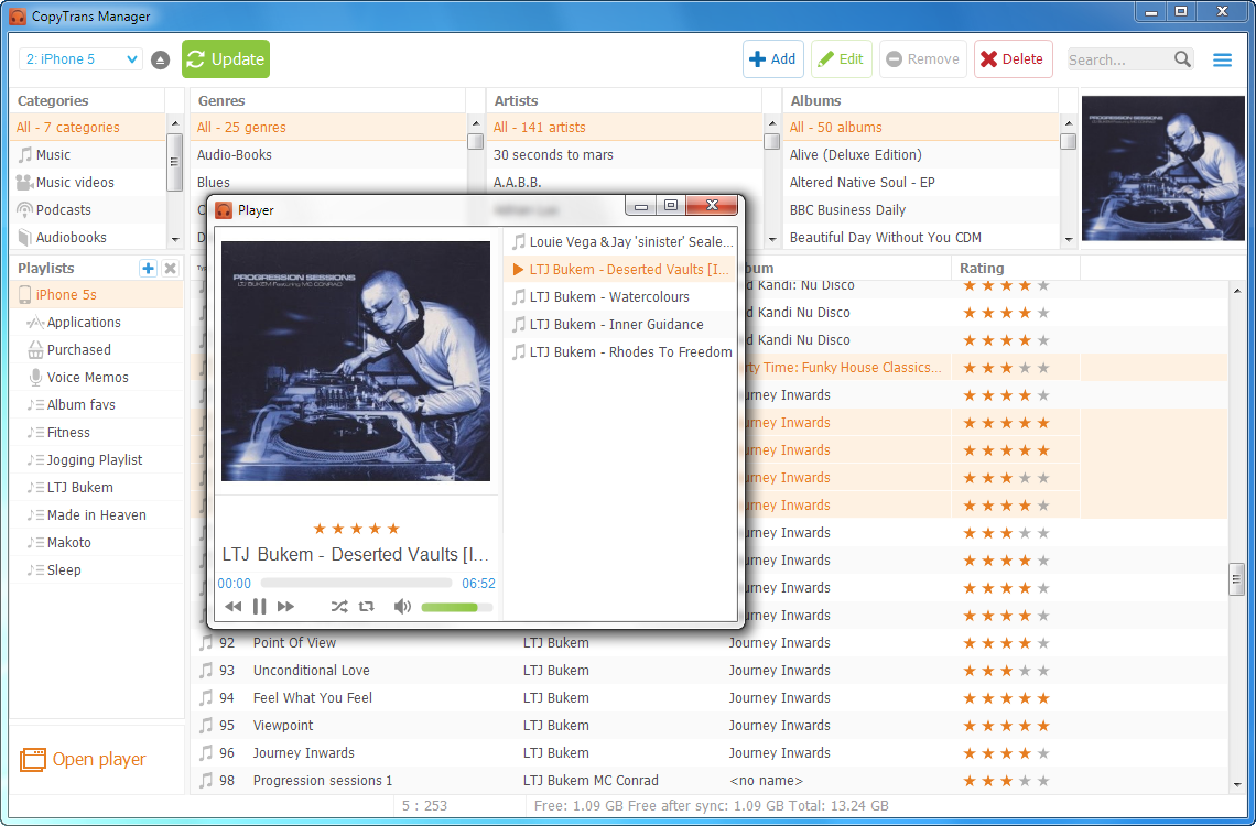 copytrans manager music player window