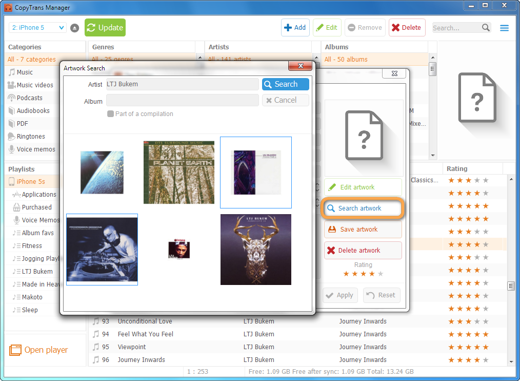 copytrans artwork search window