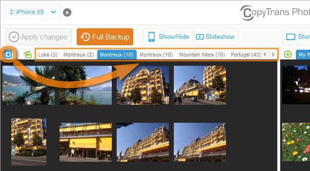 ipad album list view in copytrans photo