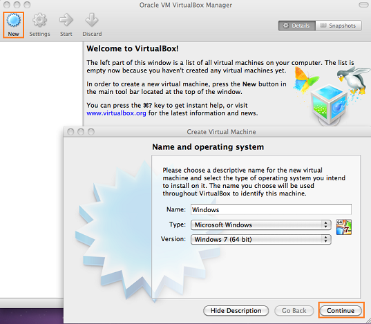 create virtual machine on mac osx