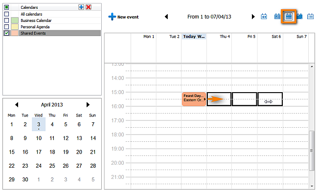 modify event recurrence in week view