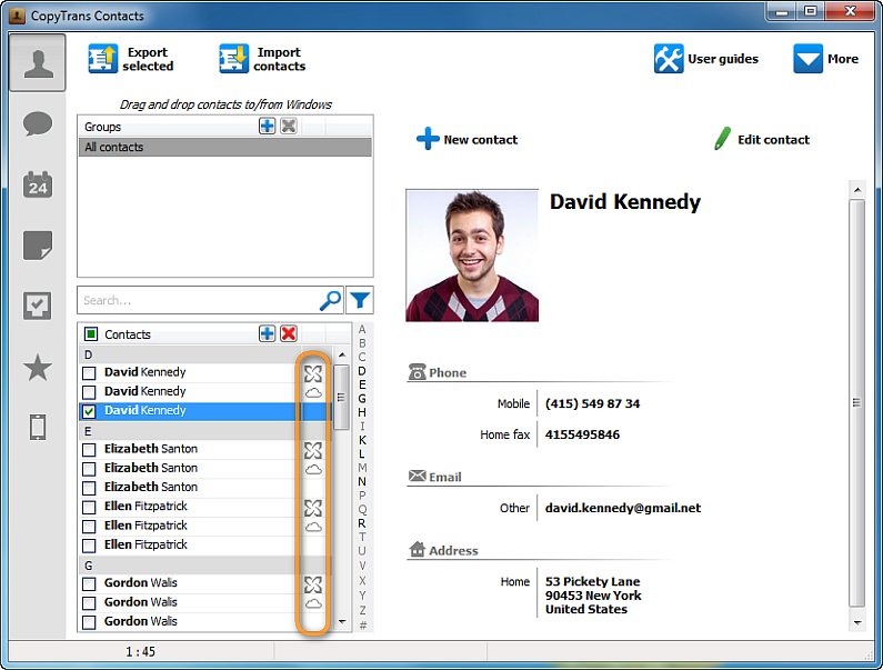 the program duplicated contacts main window