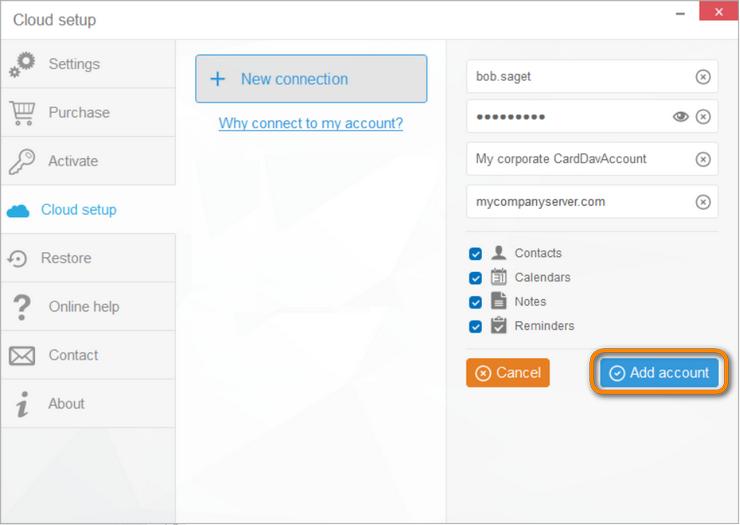 Connect CardDAV or CalDAV account with Copytrans Contacts.